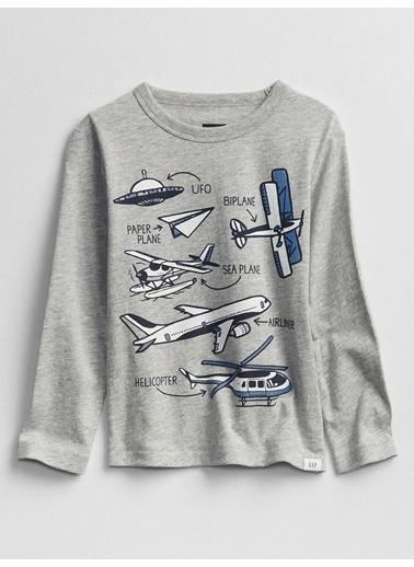 Gap Uzun Kollu Grafik T-Shirt Gri